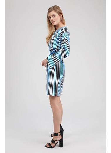 Uzun Kollu Çizgili Elbise-Setre